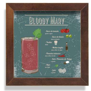 Quadro Metal Bloody Mary  - 23 x 23 cm