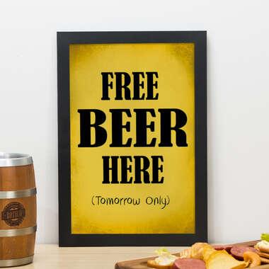 Quadro - Free Beer Here - 33x22 cm