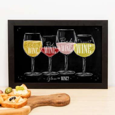 Quadro - Glass of Wine - 23x33 cm (Preto)