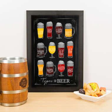 Quadro - Types of Beer - Preto - 33x23 cm