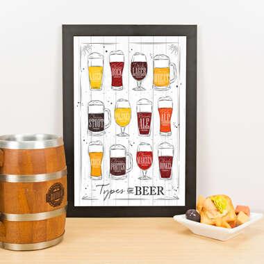 Quadro - Types of Beer - Branco - 33x23 cm