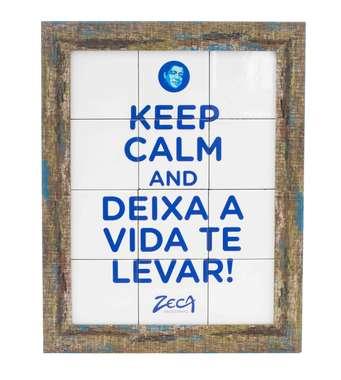 Quadro com Azulejos - Keep Calm - Zeca Pagodinho