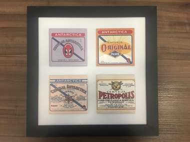 Quadro decorativo Rótulos Antigos de Cerveja - 30,5x30,5 cm - Original