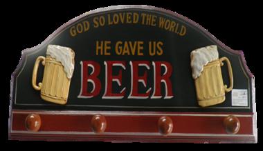 Quadro e Cabideiro em Madeira - Beer - 80x35cm