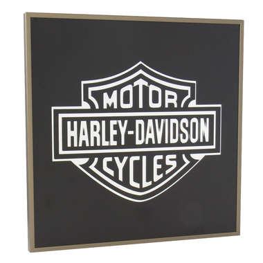 Espelho Decorativo - Harley Davidson - Moldura Dourada - Fundo preto