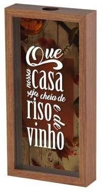 Quadro porta rolhas 31x16 cm - Uma casa de riso e vinho