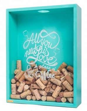 Quadro porta rolhas de garrafas de vinhos -  200 rolhas - All you need - Turquesa