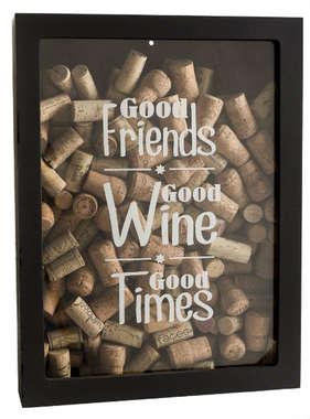 Quadro porta rolhas de garrafas de vinhos -  150 rolhas - Good Friends