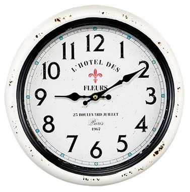 Relógio Metal Branco - L´Hotel des Fleurs - 30 cm
