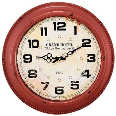 Relógio Metal Vermelho Montmartre - 42 cm