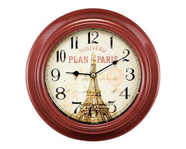 Relógio Metal Vermelho - Paris 25 cm