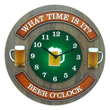 Relógio em MDF - Beer O´Clock - 35 cm de diâmetro