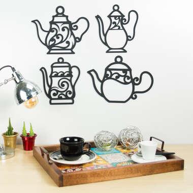 Set de Palavras Decorativas para Parede - Momento do Café - 4 Peças