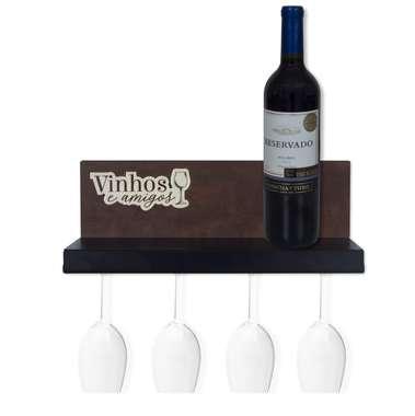 Suporte prateleira de aço para taças de vinhos - Amigos - 12 x 33 cm