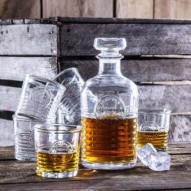 Whisky Set Officina - Garrafa e 6 copos de vidro para bebidas - Bormioli Rocco