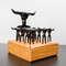 Kit Churrasco Tridente + 12 garfinhos + base de madeira - 14 peças (Preto)