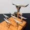 Kit Churrasco Tridente + 6 Garfinhos + base de madeira - 8 peças