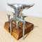 Kit Tridente + 6 garfinhos com base de madeira Teca - 8 peças