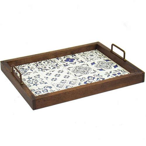 Bandeja Decorativa de Azulejos - Ladrilhos  Portugueses - 43 x 33 cm