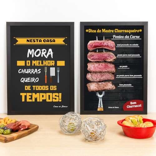 Kit Especial - Quadros Melhor Churrasqueiro + Pontos da Carne - 45 x 33 cm
