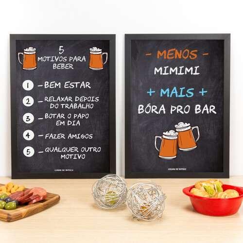 Kit Especial - Quadros Motivos para Beber + Bóra pro Bar - 45 x 33 cm