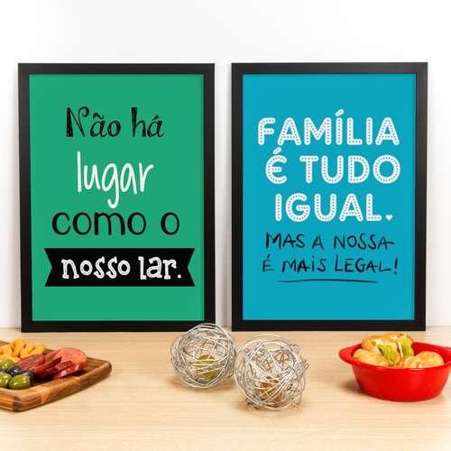 Kit Especial - Quadros Nosso Lar e Família é Tudo Igual - 45 x 33 cm