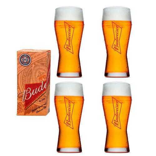 Kit 4 Copos para Cerveja Budweiser 400ml
