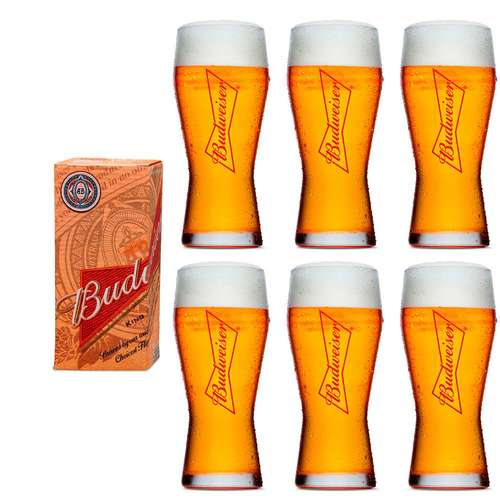 Kit 6 Copos Cerveja  Budweiser 400ml