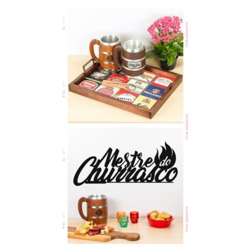 Bandeja Decorativa de Azulejos - Selecionadas  + Palavra Decorativa Mestre do Churrasco (Brinde)