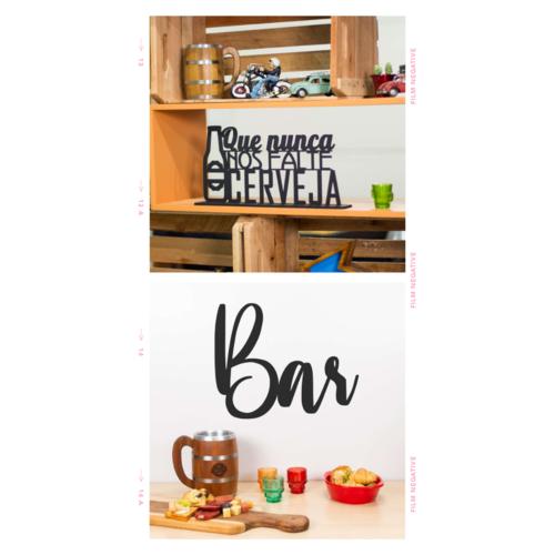 Palavra Decorativa - Que Nunca nos Falte Cerveja + Bar (Presente)