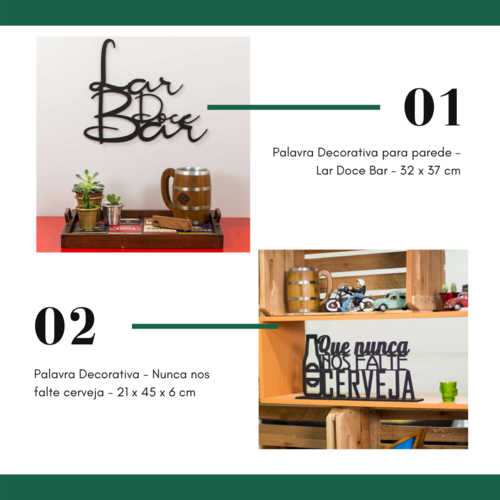Kit Especial Palavras Decorativas - Lar Doce Bar + Não nos falte cerveja