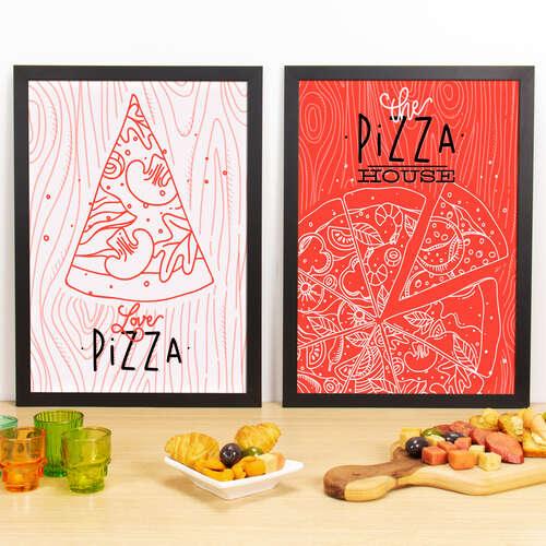 Kit Especial Quadros Decorativos - Love Pizza  + The Pizza House - 45x33 cm (Rosa e Vermelho)