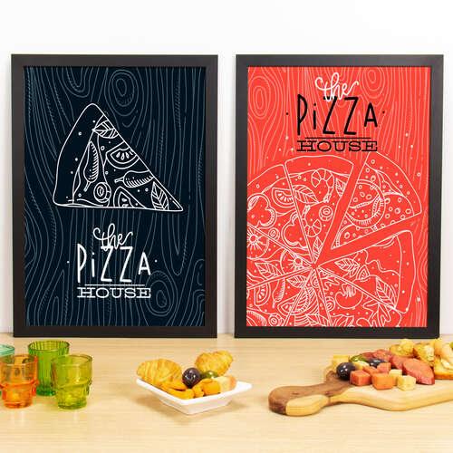Kit Especial Quadros Decorativos - The Pizza House  - 45x33 cm (Preto e Vermelho)