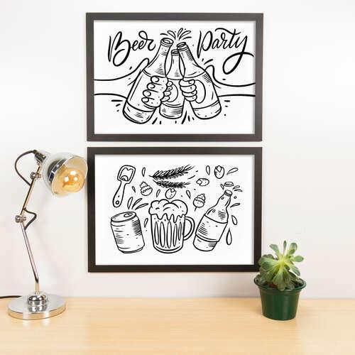 Kit Especial Quadros Decorativos - Beer Party - 45x33 cm