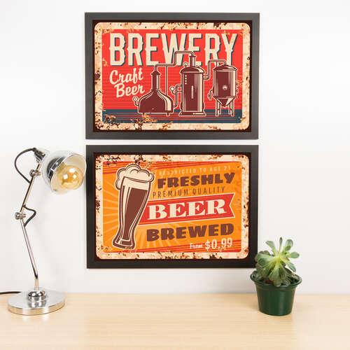 Kit Especial Quadros Decorativos - Craft Beer - 45x33 cm