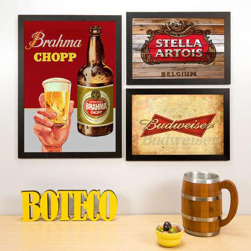 Kit Especial - 3 Quadros Brahma Stella Artois e Budweiser - 45x33 e 33x22 cm