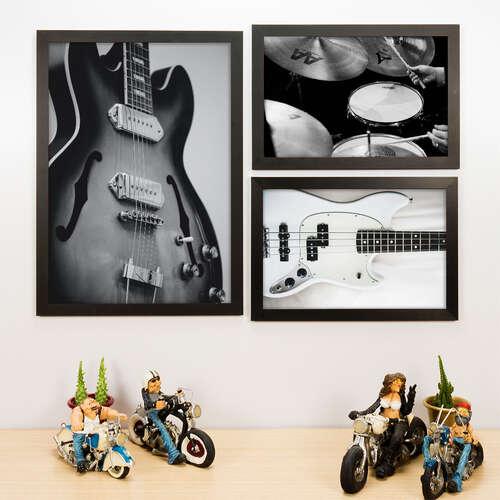 Kit Especial - 3 Quadros Decorativos Música - 45x33 e 33x22 cm
