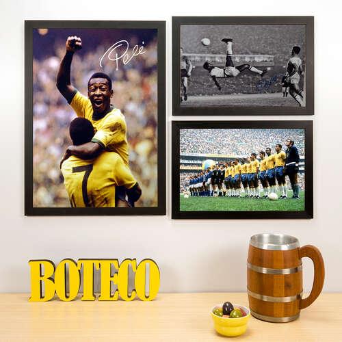 Kit Especial - 3 Quadros Pelé + Seleção 70 - 45x33 e 33x22 cm
