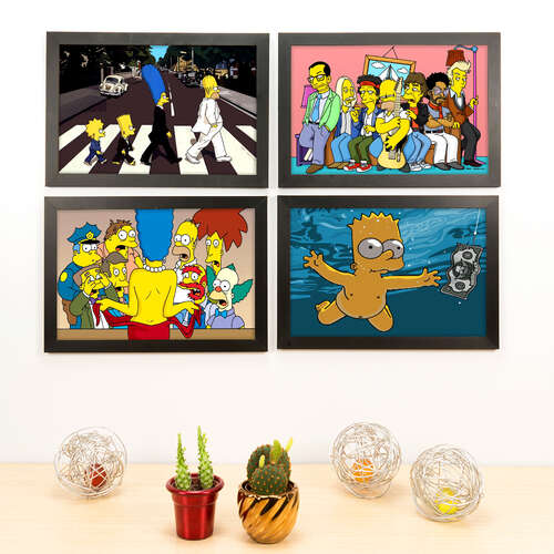 Kit Especial - 4 Quadros Decorativos Os Simpsons - 33x22 cm
