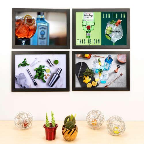 Kit Especial - 4 Quadros Decorativos Bar em Casa - 33x22 cm