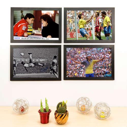 Kit Especial - 4 Quadros Decorativos Nossos Ídolos - 33x22 cm