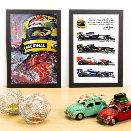 Kit Especial - Quadros Ayrton Senna em Cores + A Lenda - 33x22 cm