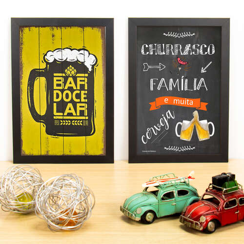 Kit Especial - Quadros Bar Doce Bar + Churrasco, Cerveja e Família - 33x22 cm