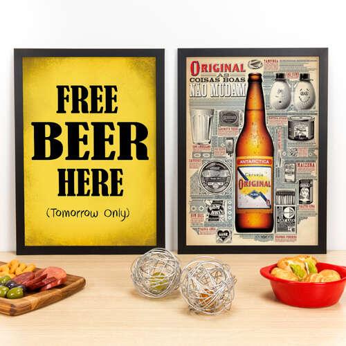 Kit Especial - Quadros Free Beer Here + Antarctica Original - 45x33 cm