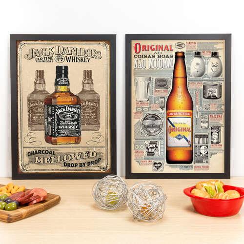 Kit Especial - Quadros Jack Daniel´s + Antarctica Original - 45x33 cm