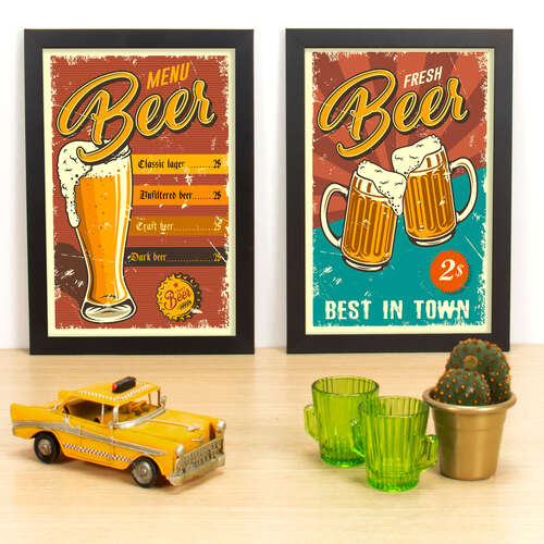 Kit Especial - Quadros Menu Beer + Fresh Beer - 33x23 cm