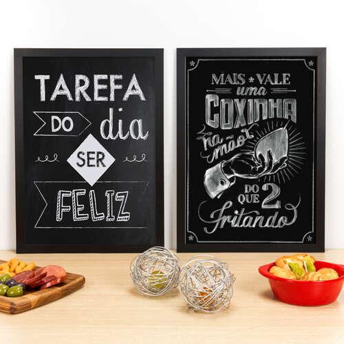 Kit Especial - Quadros Tarefa do Dia + Coxinha na Mão - 45x33 cm