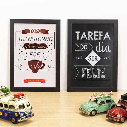 Kit Especial - Quadros Transtorno Obsessivo por Café + Tarefa do Dia - 33x22 cm