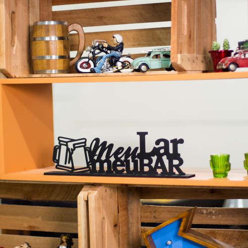 Palavra Decorativa - Meu Lar Meu Bar - 12 x 45 x 6 cm