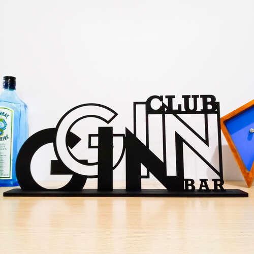 Palavra Decorativa c/ base - Gin Club Bar - 25x45 cm